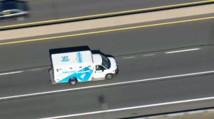 An ambulance is seen transporting a victim of a Scarborough shooting to SickKids Hospital. (CP24)