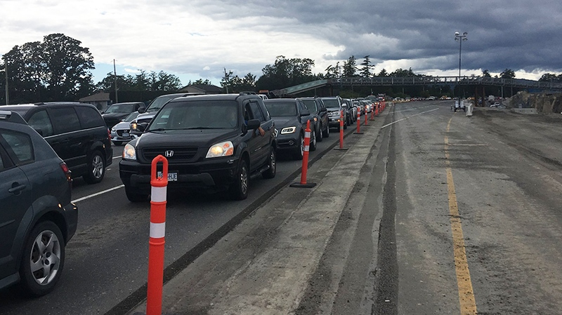 A traffic light tweak on the Trans-Canada Highway at McKenzie Avenue has led to even longer waits for drivers. June 14, 2018. (CTV Vancouver Island)
