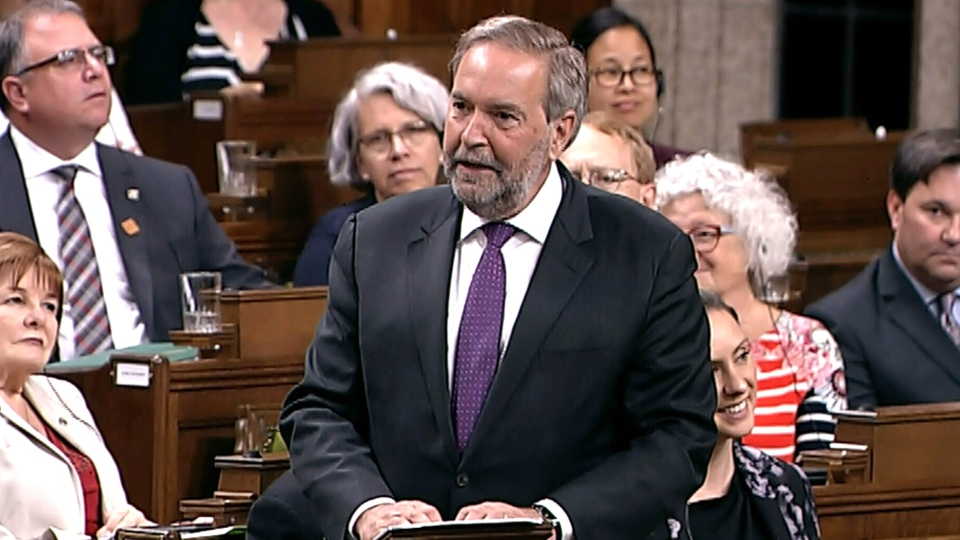 Former NDP leader Tom Mulcair speaks on his last day in the House of Commons on June 14, 2018.