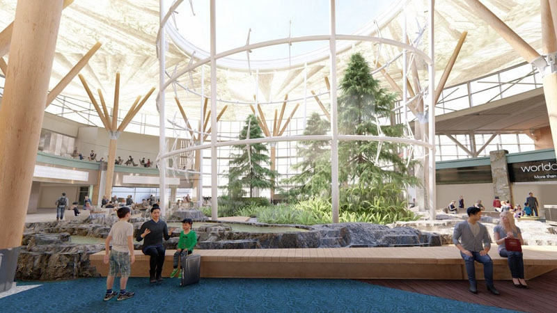 Indoor 'forest' at YVR
