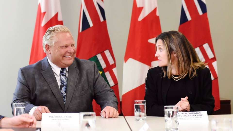 Minister of Foreign Affairs Chrystia Freeland, right, sits for a meeting with Ontario Premier-designate Doug Ford in Toronto, on Thursday, June 14, 2018. (THE CANADIAN PRESS/Nathan Denette)