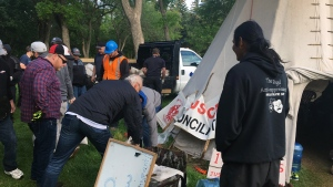 The Justice for our Stolen Children camp is dismantled on June 15, 2018. (CREESON AGECOUTAY/CTV REGINA)