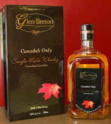 A Glen Breton Rare whisky and packaging is seen in Halifax, N.S. on Sept. 7, 2004. (Andrew Vaughan / THE CANADIAN PRESS)