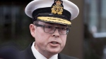 Vice-Admiral Mark Norman speaks briefly to reporters as he leaves the courthouse in Ottawa following his first appearance for his trial for breach of trust, on Tuesday, April 10, 2018. (THE CANADIAN PRESS/Justin Tang)