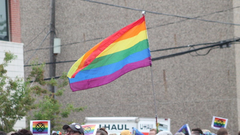 A rainbow Pride flag is seen in this file image, taken at the 2018 Queen City Pride Parade.