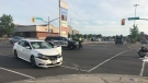 A car and a motorcycle collided at the intersection of Lincoln and Weber Streets on Saturday evening.
