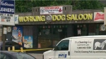 Police tape is seen outside the Working Dog Saloon in Scarborough, where a fatal double-stabbing occurred on Saturday, June 16, 2018.