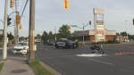 A man was airlifted to hospital after his motorcycle was struck by another vehicle as he left a plaza.
