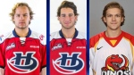Jordy Bellerive, Ryan Vandervlis and Matt Alfaro were all injured in a fire at a stag party in the Calgary area on Saturday.