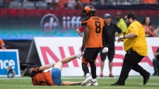 A security guard runs in after B.C. Lions' Marcell Young (8) knocked down a spectator that ran onto the field of play during the first half of a CFL football game against the Montreal Alouettes in Vancouver, on Saturday June 16, 2018. (THE CANADIAN PRESS/Darryl Dyck)
