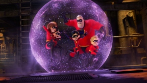 "This image released by Disney Pixar shows a scene from ""Incredibles 2."" (Disney/Pixar via AP)"