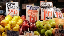 In this April 4, 2018, file photo apples grown in Washington state are displayed for sale at the Pike Place Market in Seattle. U.S. wholesale prices last month posted the biggest 12-month gain since January 2012, a sign that the strong economy is beginning to rouse inflation. The Labor Department said Wednesday, June 13, its producer price index, which measures inflation before it reaches consumers, rose 3.1 percent from May 2017. (AP / Elaine Thompson, File)