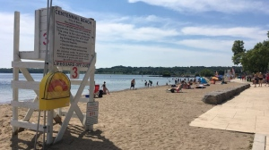 Dozens of families flock to Centennial Beach in Barrie to try and beat the heat on Sunday. (CTV Barrie/Sean Grech)