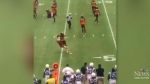 BC Lions player tackles streaking fan