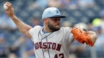 Houston Astros pitcher Lance McCullers Jr. throws to a Kansas City Royals batter in the first inning of a baseball game at Kauffman Stadium in Kansas City, Mo. on Sunday, June 17, 2018. (AP Photo/Colin E. Braley)