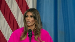 First lady Melania Trump addresses a luncheon at the U.S. Mission to the United Nations in New York on Sept. 20, 2017. (AP Photo/Craig Ruttle, File)