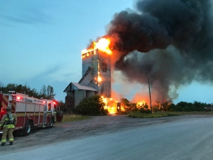 Firefighters battle a fire in an abandoned silo on Ashton Station Road June 18, 2018. (Photo: Todd Horricks @District8Chief / Twitter)