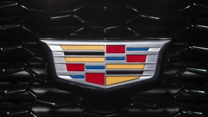 This March 27, 2018, file photo shows a Cadillac emblem on the front of a grill on a vehicle at the New York Auto Show. (AP Photo/Mark Lennihan, File)