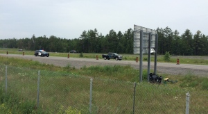 A motorcycle driver suffered life-threatening injuries after a crash on Highway 7 near Hazeldean Rd. June 18, 2018 (Peter Szperling / CTV Ottawa)