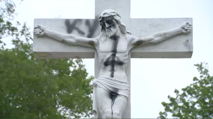 A statue of Jesus Christ at Mount Olivet Cemetery in Halifax was defaced by vandals overnight.