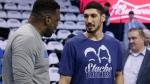 FILE -- New York Knicks' Enes Kanter, right, a former Oklahoma City Thunder center, talks with Mark Bryant, left, a Thunder assistant coach,  on Wednesday, April 25, 2018. (AP Photo/Sue Ogrocki)