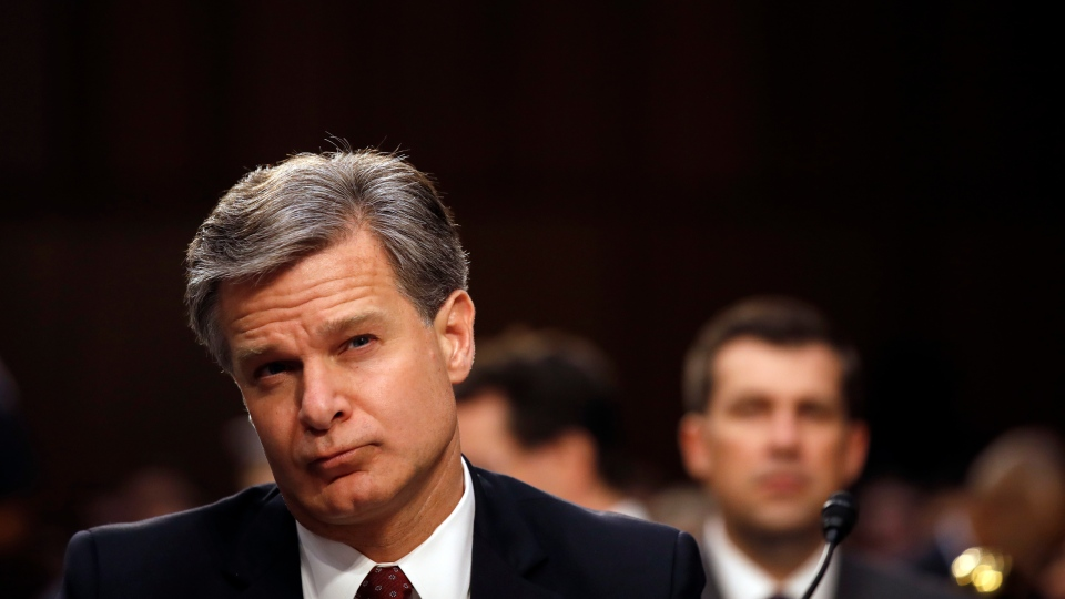 FBI Director Christopher Wray listens as he testifies during a hearing of the Senate Judiciary Committee to examine Horowitz's report of the FBI's Clinton email probe, on Capitol Hill, Monday, June 18, 2018 in Washington. (AP Photo/Alex Brandon)