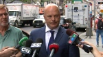 Detective Rob North speaks with reporters after a man died at Bloor-Yonge Station Monday June 18, 2018.