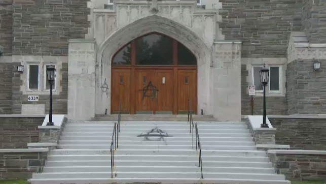 Staff at St. Theresa's church discovered a slew of vandalism spray-painted on the property.