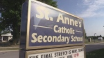 St Anne's Catholic Secondary School sign