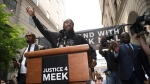 Rapper Meek Mill speaks outside the Philadelphia Criminal Justice in Center City, Pa., on Monday, June 18, 2018, as he attends a hearing to determine whether he should get a new trial in his decade-old gun and drug convictions. (Jose F. Moreno/The Philadelphia Inquirer via AP)