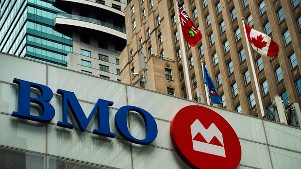 A Bank of Montreal sign is shown in the financial district in Toronto on Tuesday, August 22, 2017. THE CANADIAN PRESS/Nathan Denette