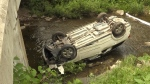 Driver loses control, flips car into creek
