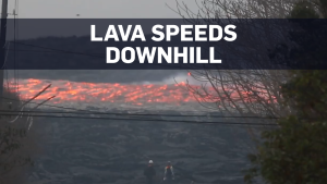 River of lava races from Kilauea at 25 km/h