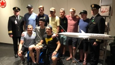 Humboldt Broncos teammates reunite in Calgary ahead of a flight to Las Vegas, Nevada, on Monday, June 18, 2018. (Rosa Hwang)