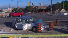 Police are investigating a three-vehicle crash in Vaughan.