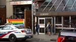 A police cruiser is seen outside an entrance to the Yonge-Bloor TTC subway, Monday, June 18, 2018.