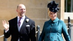 In this Saturday, May 19, 2018 file photo, Mike and Zara Tindall arrive for the wedding ceremony of Prince Harry and Meghan Markle at St. George's Chapel in Windsor Castle in Windsor, near London, England. (Chris Jackson/pool photo via AP, file)