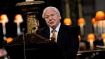 British broadcaster David Attenborough speaks during a National Service of Thanksgiving to mark the 90th birthday of Queen Elizabeth II at St Paul's Cathedral in London, June 10, 2016. (Jenny Goodall/Pool Photo via AP)