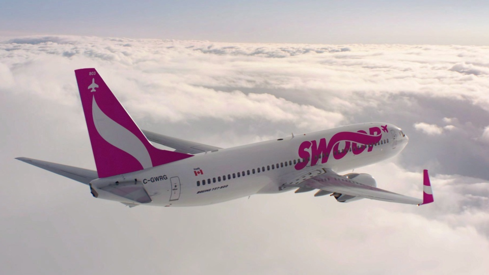 A Swoop airplane is seen in this undated handout photo. (WestJet)