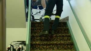 Resident carried up stairs at Thorncliffe Place.
