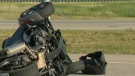 A toppled three-wheeled motorcycle following Tuesday afternoon's crash on Stoney Trail near the 88 Street SE exit