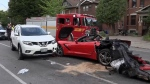 Luxury sports car crash in The Junction