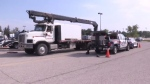 A truck pulled over at the Kitchener Memorial Auditorium during a two-day truck safety blitz.