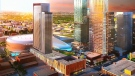 A graphic shows the updated design for Block BG (foreground), a mixed-use tower near Rogers Place in the Ice District in downtown Edmonton.