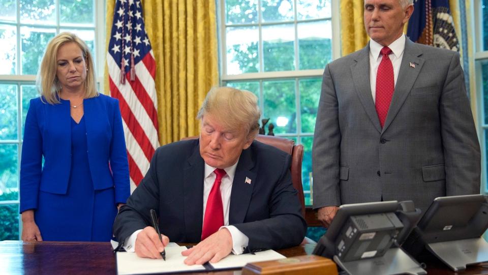 U.S. President Donald Trump said that the 'zero-tolerance' prosecution policy will continue.(AP Photo/Pablo Martinez Monsivais)