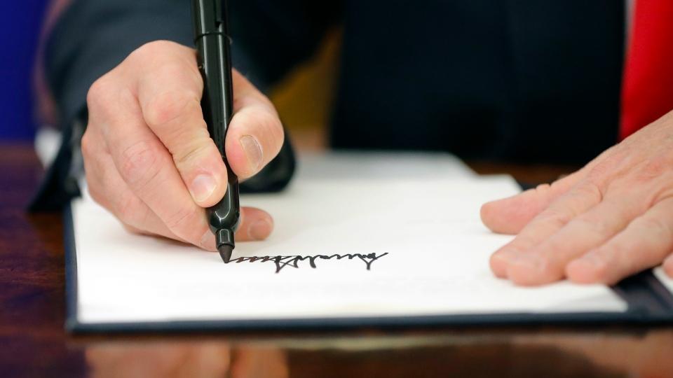 U.S. President Donald Trump signed the executive order Wednesday. (AP Photo/Pablo Martinez Monsivais)