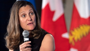 Foreign Affairs Minister Chrystia Freeland responds to questions following a luncheon speech in Montreal on Wednesday, June 20, 2018. THE CANADIAN PRESS/Paul Chiasson