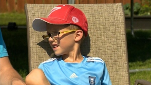 Six-year-old Kohen Hargreaves was rushed to hospital in Mantioba when a wire bristle from a BBQ brush became lodged in his throat. (CTV)
