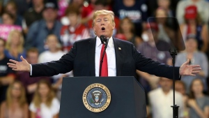 President Donald Trump speaks at a campaign rally Wednesday, June 20, 2018, in Duluth, Minn. (AP Photo/Jim Mone)