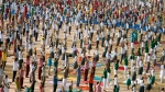 Indian students practice yoga ahead of International Yoga Day in Hyderabad, India, Wednesday, June 20, 2018. International Yoga Day will be celebrated on June 21. (AP /Mahesh Kumar A.)
